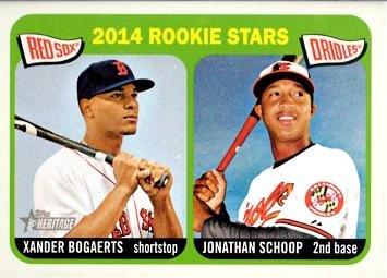 (2014 Topps Heritage Baseball #49 Xander Bogaerts / Jonathan Schoop Rookie Card)