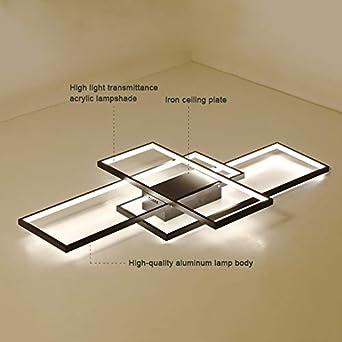 nero lampadario per ufficio camera da letto cucina 3600 lumen luce bianca fredda 6000K Plafoniera da salotto LED metallo 90x50x9cm lampada da soffitto moderna quadrata LED integrati 40W