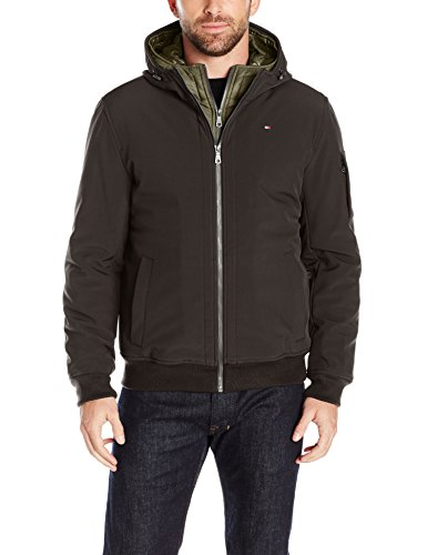Tommy Hilfiger Men's Soft Shell Fashion Bomber with Contrast Bib and Hood, Black/Olive Bib, L by Tommy Hilfiger