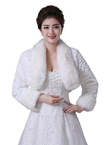 Oncefirst Women's Winter Faux Fur Wedding Jacket for Bride Wrap Shawl Bolero Jacket Ivory M