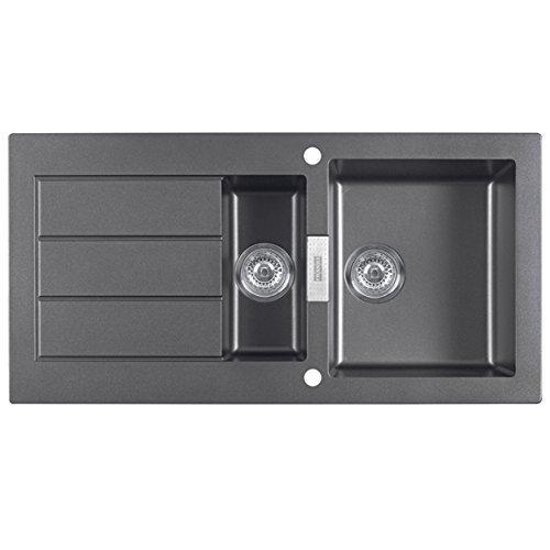 Franke SID651 Sirius 1.5 Bowl Black Tectonite Reversible Kitchen Sink & Waste by (Bowl Reversible Kitchen Sink)