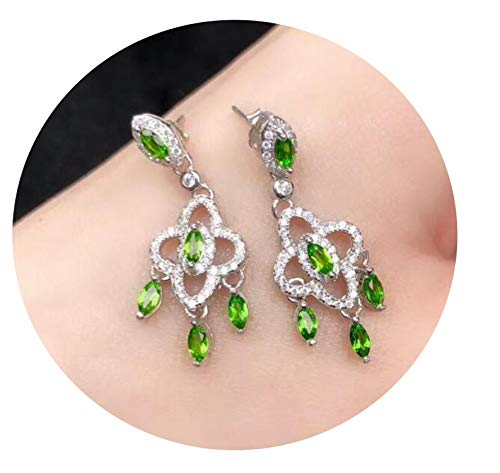 Ashley-OU boutique jewelry 925 sterling silver inlaid natural diopside gemstone female earrings,White