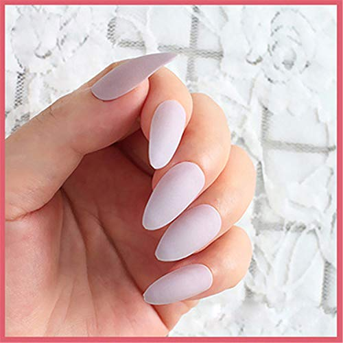 (24Pcs/Set Full Cover Matte False Nail Tips Sharp Pointed Soft Pink Nude Red Black Blue Fake Nails Pure Candy Colour 6)
