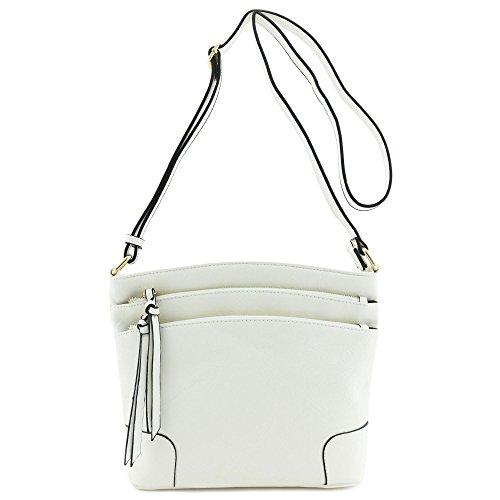 Triple Zip Pocket Medium Crossbody Bag (White)