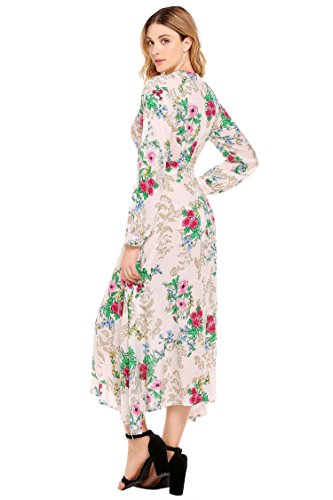 Print Keyhole Women's Swing Flower Dress Pattern1 Long Maxi ELESOL Dress Sleeve qZTEq