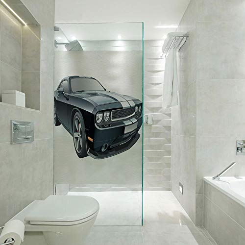 - Shower Room Window Film Glass Stickers,Black Modern Pony Car with White Racing Stripes Coupe Motorized Sport Dragster,Customizable Size,Suitable for Bathroom,Door,Glass etc,Black Grey White