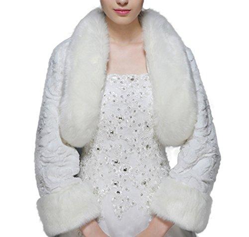 Icegrey Veste Femme Demoiselle Dhonneur Pour Mariée Mariage Fourrure De Vison Boléro Cape étole Doublure Intégrale Rouge Blanc