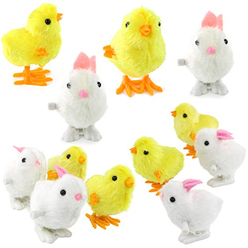 Easter Chicks And Bunnies - WEWILL Wind-Up Easter Jumping Chicks & Bunny for Kid 3.5 Inch Hopping Plush Toy Party Favor Toy Gift Pack of 12