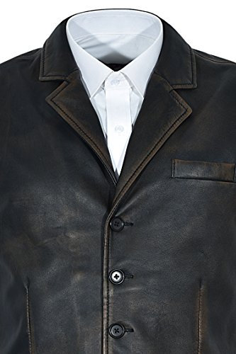 Élégant Distressed 1349 Rub Range Hommes Black Off 100En Cuir Vintage Gilet Smart Véritable OkP08nwX