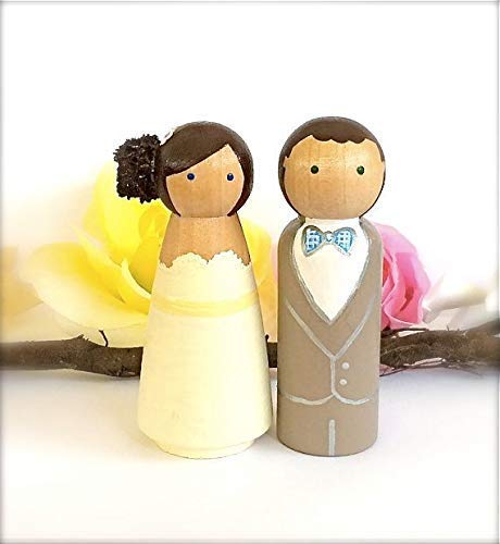 (*MADE IN USA* Custom Wedding Cake Topper, Hand Painted Wooden Peg Dolls Cake Topper, Figurines, Kokeshi Doll Cake Toppers Personalized)