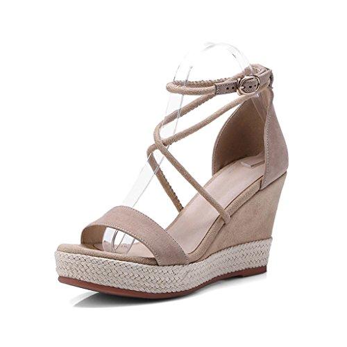 a9d0ef21 Cuero con suela gruesa plataforma con sandalias Zapatos de limpieza  Sandalias cortas de tacón alto ( Color : Apricot , Size : 35 ) 85% OFF