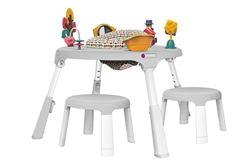 Oribel PortaPlay 4-in-1 Foldable Baby Activity Center + Child Stools Combo, White