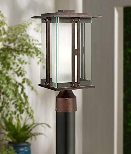 Fallbrook Collection Modern Outdoor Post Light Fixture Bronze 15 3/4