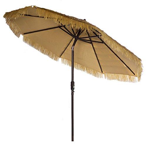 Bayside21 Hula Thatched Tiki Umbrella Raffia Grass Patio Umbrella Natural Color 9 Feet Patio Umbrella Market Outdoor Table Umbrella with Auto Tilt and Crank (9ft, Natural)