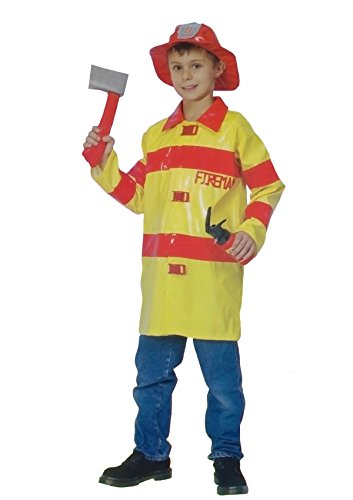 Rimi Hanger Boys Fire Fighter Fancy Dress Costume Childrens Emergency Fireman Uniform Outfit Medium 7-9 Years -