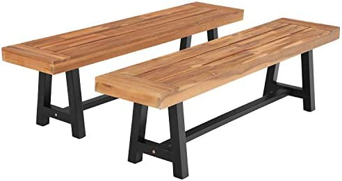 "Sophia William Outdoor Patio Acacia Wood Benches Set of 2 63.0"" L x 14.4"" W x 17.9"" H"