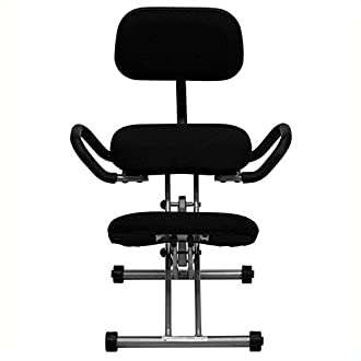Flash Furniture Ergonomic Kneeling Chair with Back and Handles in Black Fabric