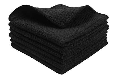 KinHwa Microfiber Dish Cloths Thick Waffle Weave Kitchen Dish Rags Ultra Absorbent Odor Free Dishcloths 12inch x 12inch 6 Pack - Black