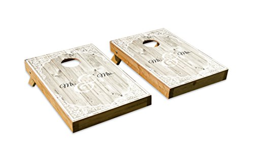 Classic Wedding Mr. and Mrs. DesignCornhole/Bean Bag Toss Board Set – Made in USA Wood - 2'x3' Tailgate Size - Includes 8 Corn-Filled Bean Bags
