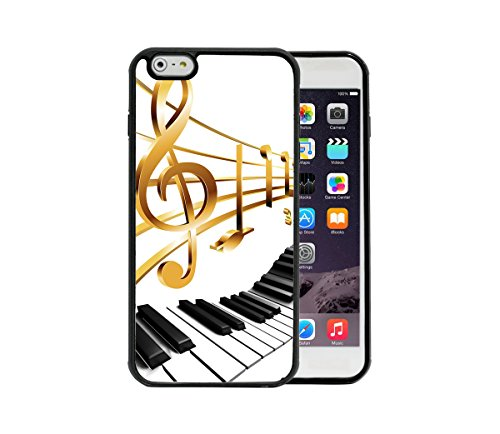 Price comparison product image Gold Color Music Notes on Piano Keyboard Apple iPhone 6 / 6S Plus,  5.5 Rubber TPU Silicone Phone Case - FITS IPHONE 6 PLUS & IPHONE 6S PLUS