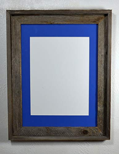 - Barn Wood Style 9x12 Blue Mat Reclaimed Wood Hanging Picture Frame With Glass 12x16 Without Mat