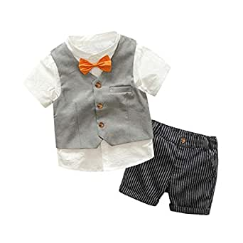 Fairy Baby Boys Formal Summer Outfit 4pcs Clothes Set Kid Tops Shirt+Vest+Bow+Shorts Set Size 18-24M (Gray)