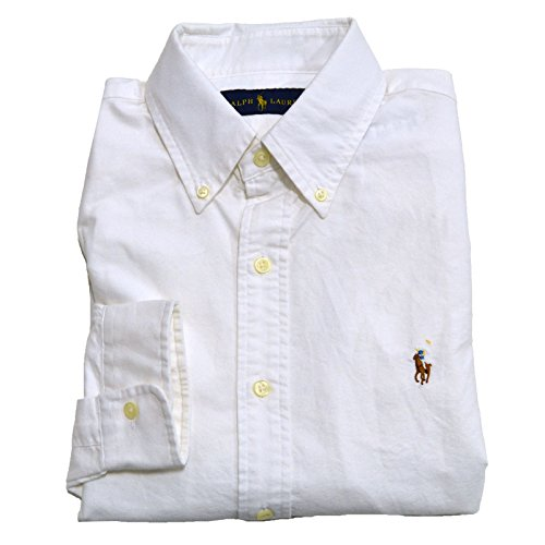 (RALPH LAUREN Polo Men's Long Sleeve Oxford Button Down Shirt,White (L))