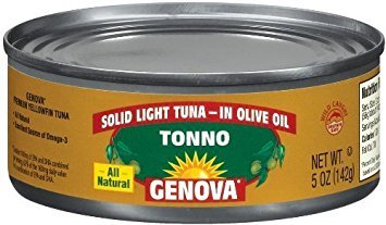 Genova Tonno, Solid Light Tuna in Olive Oil, 5-Ounce Cans (Pack of 6) (Tuna Genova)