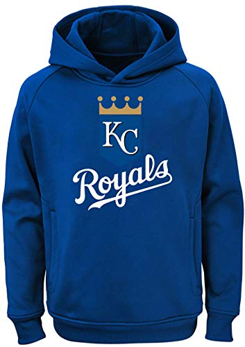 Outerstuff MLB Youth 8-20 Team Color Polyester Performance Primary Logo Pullover Sweatshirt Hoodie (Medium 10/12, Kansas City Royals)