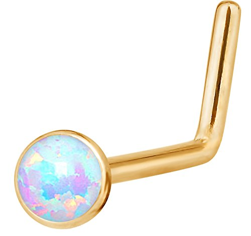 - Forbidden Body Jewelry 20g 6mm Surgical Steel Rose Gold IP Plated Synthetic White Opal L-Shape Nose Stud