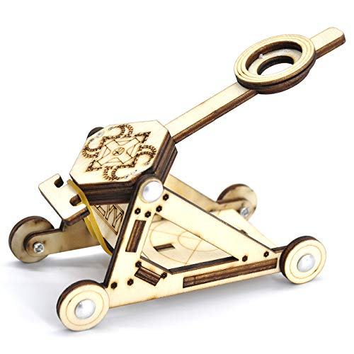 (CZYY DIY Wood Catapult Kit Powered by Rubber Band Office Stress Relief Gadgets Great Desk Fidget Toy for Adults & Kids)