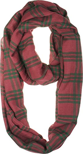 VIVIAN & VINCENT Soft Light Weight Plaid Check Tartan Sheer Infinity Scarf 17 Pink Green (Plaid Green And Pink)