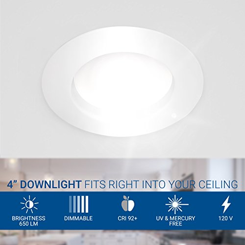 Hyperikon 4 Inch Dimmable Recessed LED Downlight, 9W (65W Equivalent), 3000K (Soft White Glow), Retrofit Lighting Fixture, Energy Star, 670 Lumens - Great for Cans Bathroom, Kitchen, Office (12 Pack)