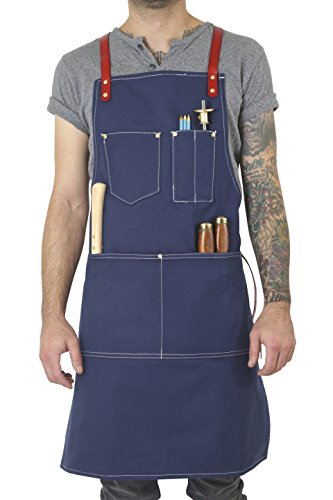 - Twig and Bones Canvas and Leather Utility Apron with Pockets - Blue