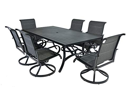 Pebble Lane Living 7pc Cast Aluminum Swivel Rocking Padded Sling Patio Dining Furniture Set (Cast Patio Sling Aluminum Furniture)