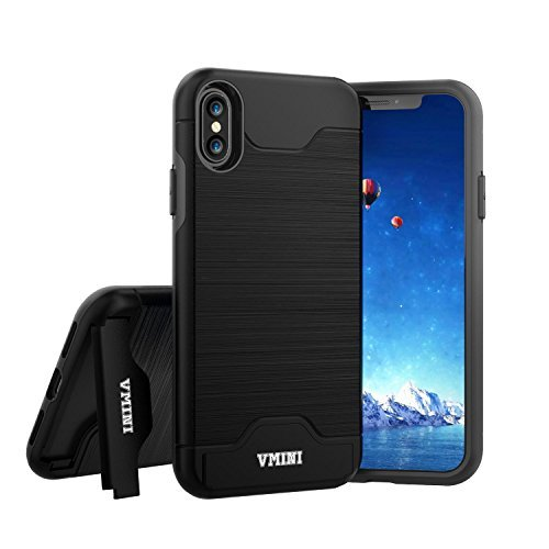 Vmini iPhone X Case, Slim Hard Shockproof Case with Card Slot Holder and Built-in Kickstand, Fashionable Wire Drawing Cover Design - Black