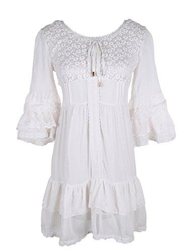 Anna-Kaci Womens High Waist Floral Lace Ruffle Hem Bell Sleeve Mini Dress, White, - Smocked Blouse Maternity Waist