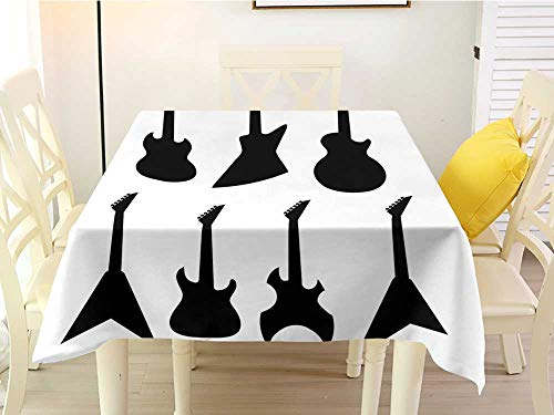 (L'sWOW Square Tablecloth with Umbrella Hole Rock Music Various Guitar Silhouettes Acoustic Electronic Bass Abstract String Instruments Black White Stain 54 x 54 Inch)
