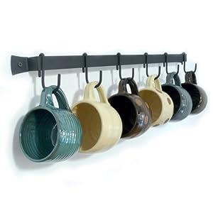 "Wall-Mounted Wrought Iron Mug Rack, 24"" with 6 Cup Hooks"