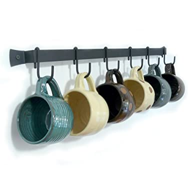 Wall-Mounted Wrought Iron Mug Rack, 24  with 6 Cup Hooks