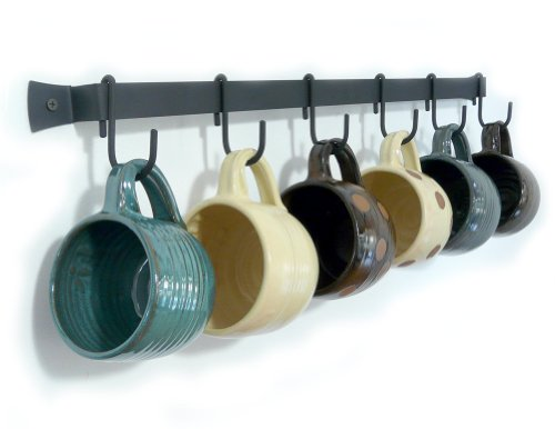 "Wall-Mounted Wrought Iron Mug Rack, 24"" with 6 Cup Hooks, Made in USA"