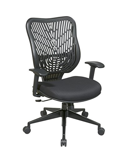 Space Seating EPICC Self Adjusting SpaceFlex Raven Backrest Support and Padded Raven Mesh Seat, 2-to-1 Synchro Tilt Control and Angled Gunmetal Finish Base Managers Chair