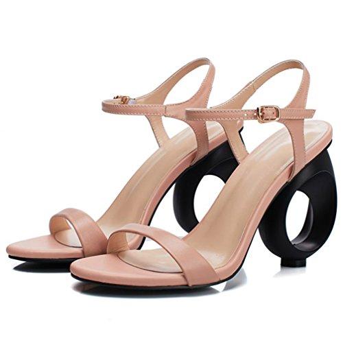 Alto Verano Tobillo Fiesta Mujeres Cuero Tacón Correa Sandalias Tacones Zapatos Moda Pink De Genuino nagwzxqI5