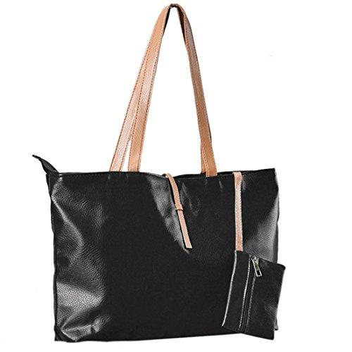 Tongshi famosa marca mujeres de la moda bolsos de hombro ocasional negro