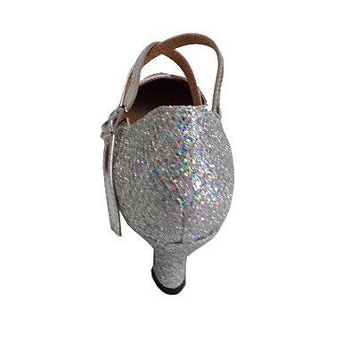 XIAMUO Angepasste Frauen Modern Dance Schuhe angepasste Ferse funkelnden Glitter Ballsaal Schuhe, Silber, US 9 / EU 40/UK7/CN41
