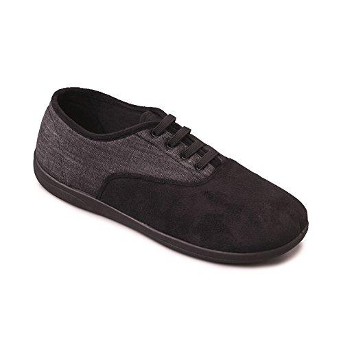 Padders Herren Microsuede Slipper Sneaker | Elastiche Schnürhausschue mit Memory-Schaum-Einlegesohle | Breite G Passmaß | 20mm Ferse Schwarz