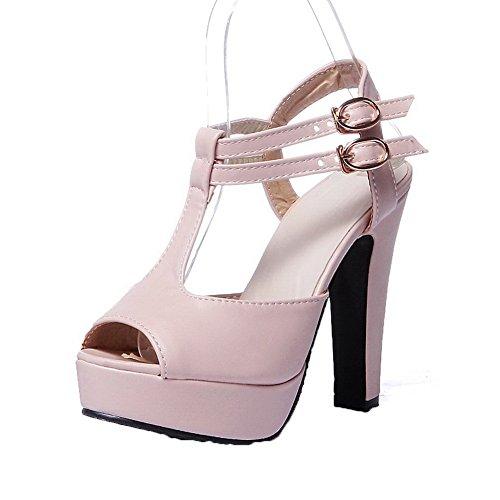 AalarDom Mujer Puntera Abierta Tacón Alto Sólido Sandalias de vestir Rosa-TAI