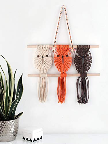 Three Owls Macrame Woven Wall Hanging Art Decor - Cute Boho Chic Decorations for Baby Nursery Little Kids Room, Best Friend Gifts for Owl Lovers ()