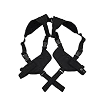 Left & Right Handed Tactical Double Pistol Shoulder Holster Magazine Pouch Airsoft Military BK