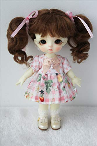 Mohair Brown Light (Wigs Only! JD428 5-6inch 13-15cm Lovely Twin Wave Ponytail BJD Wigs 1/8 Lati Yellow Mohair School Girl Doll Wig (Light Brown))